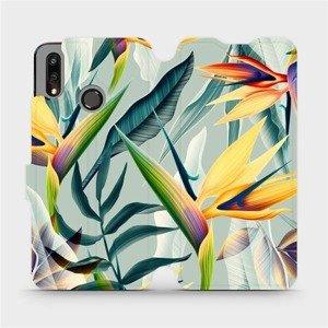 Flipové pouzdro Mobiwear na mobil Huawei P Smart 2019 - MC02S Žluté velké květy a zelené listy