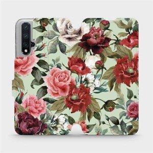 Flipové pouzdro Mobiwear na mobil Honor 20 - MD06P Růže a květy na světle zeleném pozadí