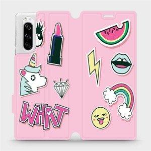 Flipové pouzdro Mobiwear na mobil Sony Xperia 5 - M129S Růžové WHAT
