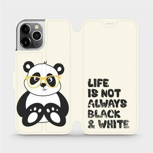 Flipové pouzdro Mobiwear na mobil Apple iPhone 12 Pro - M041S Panda - life is not always black and white
