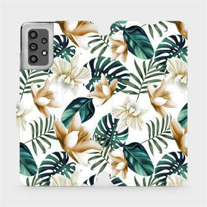 Flip pouzdro Mobiwear na mobil Samsung Galaxy A32 LTE - MC07P Zlatavé květy a zelené listy