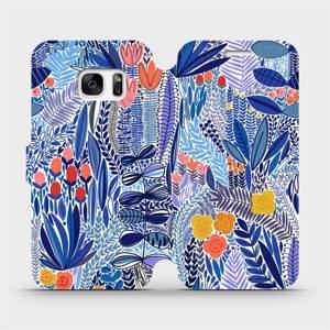 Flip pouzdro Mobiwear na mobil Samsung Galaxy S7 - MP03P Modrá květena