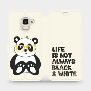 Flipové pouzdro Mobiwear na mobil Samsung Galaxy J6 2018 - M041S Panda - life is not always black and white