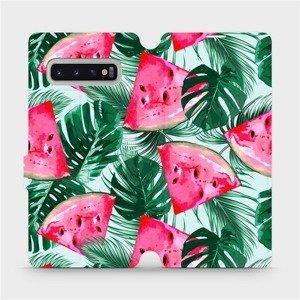 Flipové pouzdro Mobiwear na mobil Samsung Galaxy S10 Plus - MC08S Melounky a listy