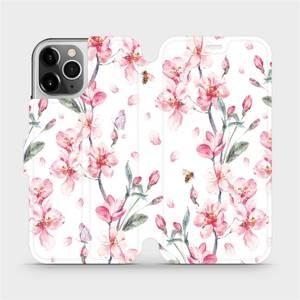 Flipové pouzdro Mobiwear na mobil Apple iPhone 12 Pro - M124S Růžové květy