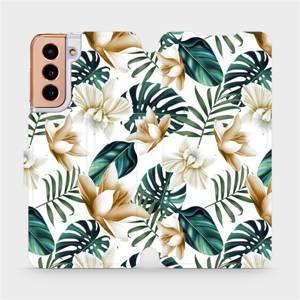 Flipové pouzdro Mobiwear na mobil Samsung Galaxy S21 5G - MC07P Zlatavé květy a zelené listy