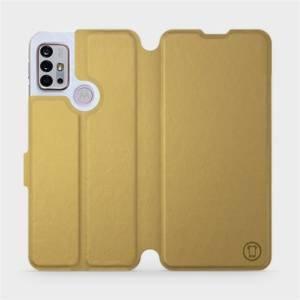 Flipové pouzdro Mobiwear na mobil Motorola Moto G10 v provedení C_GOS Gold&Gray s šedým vnitřkem