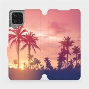 Flip pouzdro Mobiwear na mobil Samsung Galaxy M22 - M134P Palmy a růžová obloha