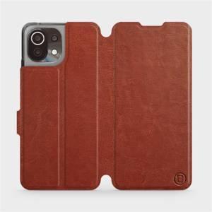 Flip pouzdro Mobiwear na mobil Xiaomi 11 Lite 5G NE v provedení C_BRS Brown&Gray s šedým vnitřkem