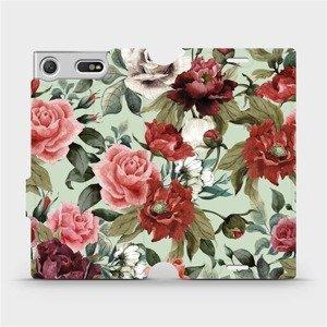 Flipové pouzdro Mobiwear na mobil Sony Xperia XZ1 Compact - MD06P Růže a květy na světle zeleném pozadí