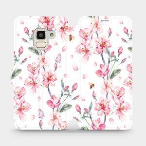 Flipové pouzdro Mobiwear na mobil Samsung Galaxy J6 2018 - M124S Růžové květy