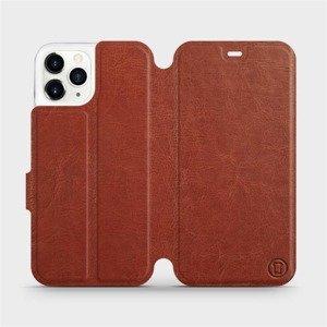 Flipové pouzdro Mobiwear na mobil Apple iPhone 11 Pro v provedení C_BRP Brown&Orange s oranžovým vnitřkem