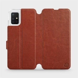 Flipové pouzdro Mobiwear na mobil Samsung Galaxy A51 v provedení C_BRP Brown&Orange s oranžovým vnitřkem