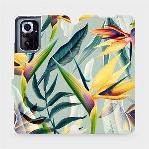 Flipové pouzdro Mobiwear na mobil Xiaomi Redmi Note 10 Pro - MC02S Žluté velké květy a zelené listy