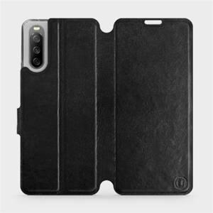 Flip pouzdro Mobiwear na mobil Sony Xperia 10 III v provedení C_BLS Black&Gray s šedým vnitřkem