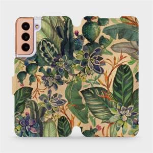 Flip pouzdro Mobiwear na mobil Samsung Galaxy S21 - VP05S Sukulenty