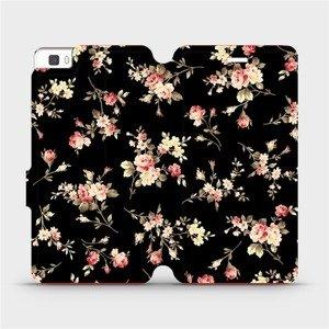 Flipové pouzdro Mobiwear na mobil Huawei P8 Lite - VD02S Květy na černé