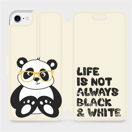Flipové pouzdro Mobiwear na mobil Apple iPhone 8 - M041S Panda - life is not always black and white