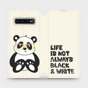 Flipové pouzdro Mobiwear na mobil Samsung Galaxy S10 - M041S Panda - life is not always black and white