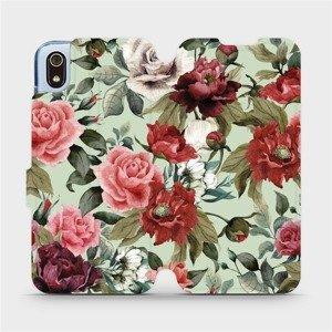 Flipové pouzdro Mobiwear na mobil Xiaomi Redmi 7A - MD06P Růže a květy na světle zeleném pozadí