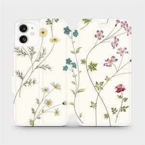 Flipové pouzdro Mobiwear na mobil Apple iPhone 11 - MD03S Tenké rostlinky s květy