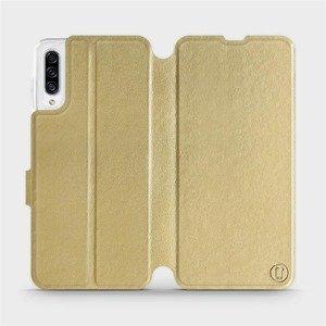 Flipové pouzdro Mobiwear na mobil Samsung Galaxy A30s v provedení C_GOP Gold&Orange s oranžovým vnitřkem