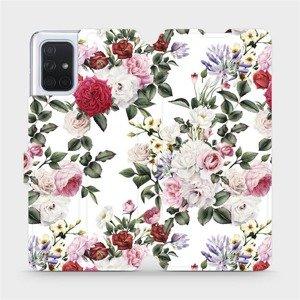Flipové pouzdro Mobiwear na mobil Samsung Galaxy A71 - MD01S Růže na bílé