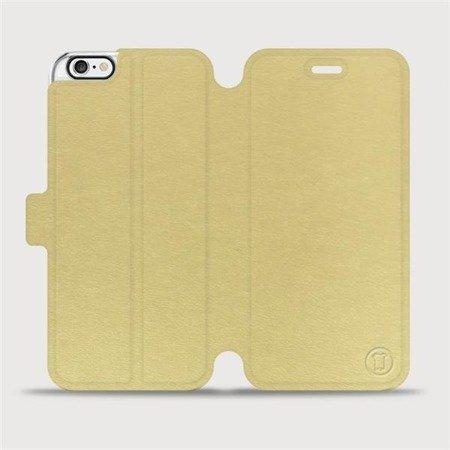 Parádní flip pouzdro Mobiwear na mobil Apple iPhone 6 / iPhone 6s v provedení C_GOP Gold&Orange s oranžovým vnitřkem