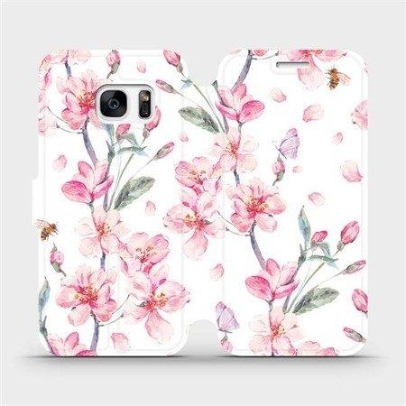 Flipové pouzdro Mobiwear na mobil Samsung Galaxy S7 - M124S Růžové květy