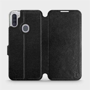 Flipové pouzdro Mobiwear na mobil Samsung Galaxy M11 v provedení C_BLS Black&Gray s šedým vnitřkem