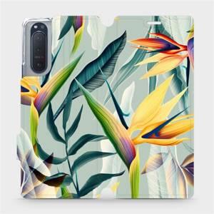 Flipové pouzdro Mobiwear na mobil Sony Xperia 5 II - MC02S Žluté velké květy a zelené listy