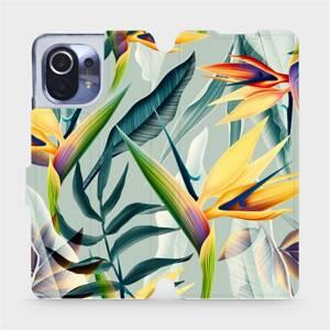 Flipové pouzdro Mobiwear na mobil Xiaomi Mi 11 - MC02S Žluté velké květy a zelené listy