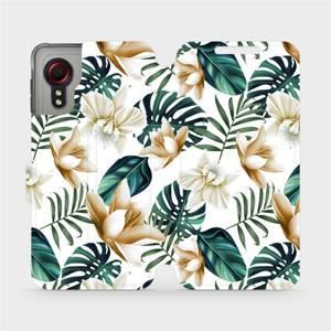Flipové pouzdro Mobiwear na mobil Samsung Galaxy Xcover 5 - MC07P Zlatavé květy a zelené listy