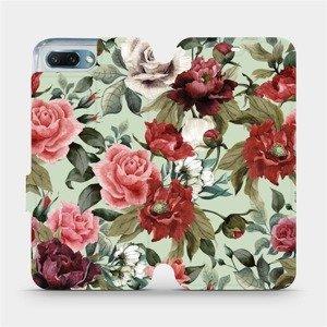 Flipové pouzdro Mobiwear na mobil Honor 10 - MD06P Růže a květy na světle zeleném pozadí