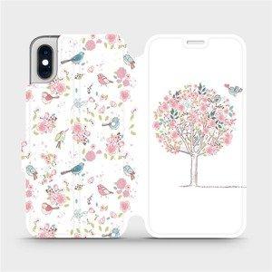 Flipové pouzdro Mobiwear na mobil Apple iPhone XS - M120S Strom a ptáčci