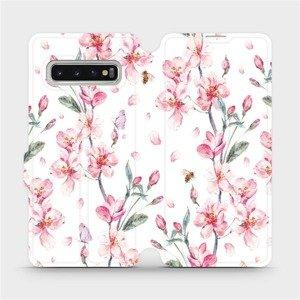 Flipové pouzdro Mobiwear na mobil Samsung Galaxy S10 - M124S Růžové květy