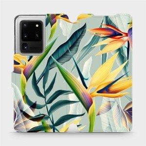 Flipové pouzdro Mobiwear na mobil Samsung Galaxy S20 Ultra - MC02S Žluté velké květy a zelené listy