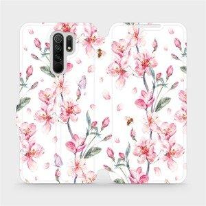 Flipové pouzdro Mobiwear na mobil Xiaomi Redmi 9 - M124S Růžové květy