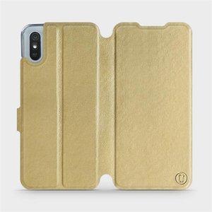 Flipové pouzdro Mobiwear na mobil Xiaomi Redmi 9A v provedení C_GOS Gold&Gray s šedým vnitřkem