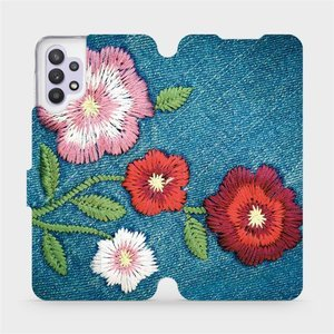 Flipové pouzdro Mobiwear na mobil Samsung Galaxy A32 5G - MD05P Džínové květy