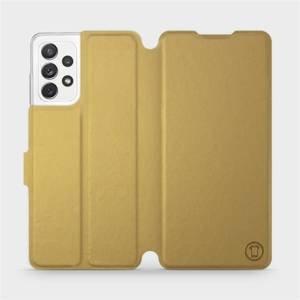 Flipové pouzdro Mobiwear na mobil Samsung Galaxy A72 v provedení C_GOP Gold&Orange s oranžovým vnitřkem