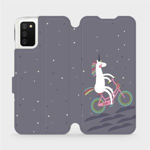 Flipové pouzdro Mobiwear na mobil Samsung Galaxy A02s - V024P Jednorožec na kole