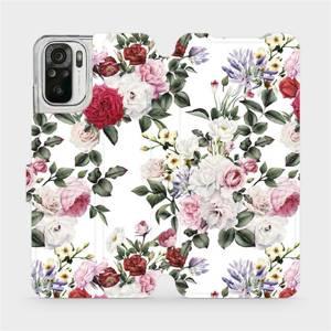 Flipové pouzdro Mobiwear na mobil Xiaomi Redmi Note 10S - MD01S Růže na bílé