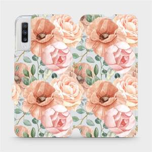 Flip pouzdro Mobiwear na mobil Samsung Galaxy A70 - MP02S Pastelové květy