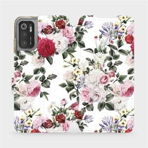 Flip pouzdro Mobiwear na mobil Xiaomi Poco M3 Pro 5G - MD01S Růže na bílé