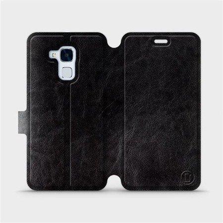 Parádní flip pouzdro Mobiwear na mobil Honor 7 Lite v provedení C_BLS Black&Gray s šedým vnitřkem