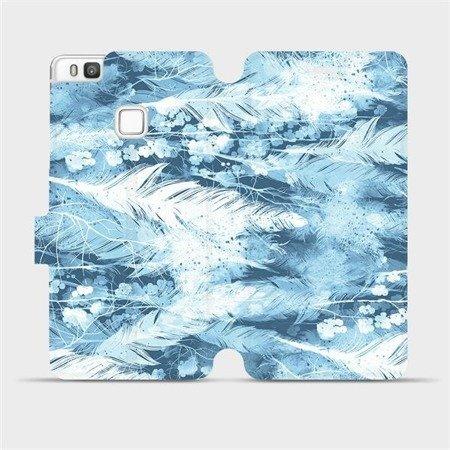 Flipové pouzdro Mobiwear na mobil Huawei P9 Lite - M058S Světle modrá horizontální pírka