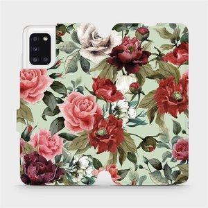 Flipové pouzdro Mobiwear na mobil Samsung Galaxy A31 - MD06P Růže a květy na světle zeleném pozadí