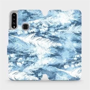 Flipové pouzdro Mobiwear na mobil Samsung Galaxy A20S - M058S Světle modrá horizontální pírka
