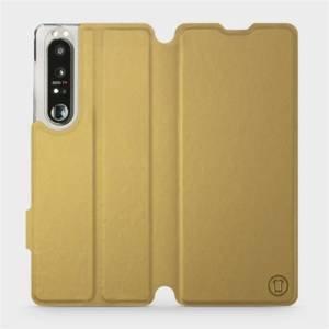 Flip pouzdro Mobiwear na mobil Sony Xperia 1 III v provedení C_GOS Gold&Gray s šedým vnitřkem